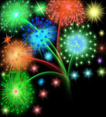 Salute firework on black — Stock Photo