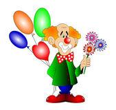 Der fröhliche clown mit bal — Stockfoto