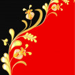 Floral background on red and black - Stockvektor