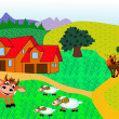 Farm with animal by horse by cow, nanny goat and cock — Stock Vector
