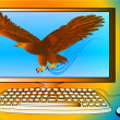 Stock Vector: Powerful computer as strong eagle flying from monitor