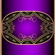 Violet with gold label with pattern — Stock Vector
