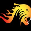 Powerful burning tiger on black background — Stock Vector #7657064