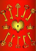 Impostare la chiave e cuore su rosso — Vettoriale Stock