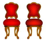 Two red chairs with pattern — Stock Vector
