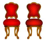 Deux chaises rouges avec motif — Vecteur