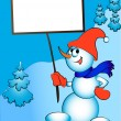Royalty-Free Stock Vector Image: Merry snowman keeps in hand billboard