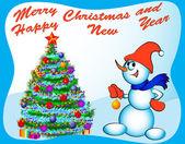 雪だるまドレス モミの木のお祝いボールとおもちゃ — ストックベクタ