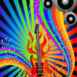 Music background with guitar and rainbow — Stock Vector #7848568