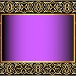 Violet background with gold(en) antique pattern — Stock Vector