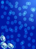 синий фон с тремя драгоценные сверкающий бриллиант — Cтоковый вектор