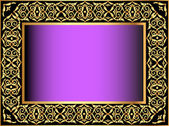 Violet background with gold(en) antique pattern — Stock Vector