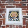 icon on a brick wall of the solovetsky monastery — Stock Photo