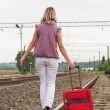 Girl with suitcase walking along rail — Stock Photo