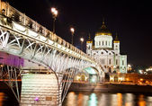 Orthodox church of Christ the Savior at night — ストック写真