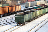 Commodity cars on rails — Stock Photo