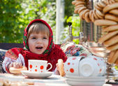 Little girl in Russian national dress — Stock Photo