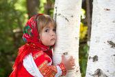 Little girl in Russian national dress — Stock Photo