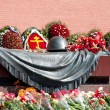 Wreaths at a monument to the Unknown soldier at the Kremlin wall in Moscow. - Stock Photo