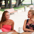 Beautiful girls has a rest in street cafe in park - Stock Photo