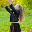 Beautiful little girl on walk in autumn park — Stock Photo