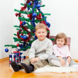 Brother and the sister dress up the New Year tree — Stock Photo