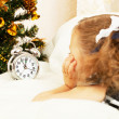 Little girl looks at alarm clock in expectation of Christmas approach — Stock Photo #7509180