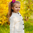 Beautiful little girl on walk in autumn park — Stock Photo #7629464