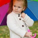 Beautiful little girl on walk in autumn park — Stock Photo #7947582