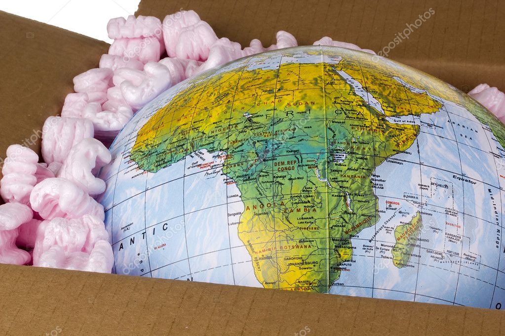 Close-up of a globe in a delivery box.  Stock Photo #6851431