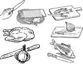 Mutfakta gıdalar — Stok Vektör