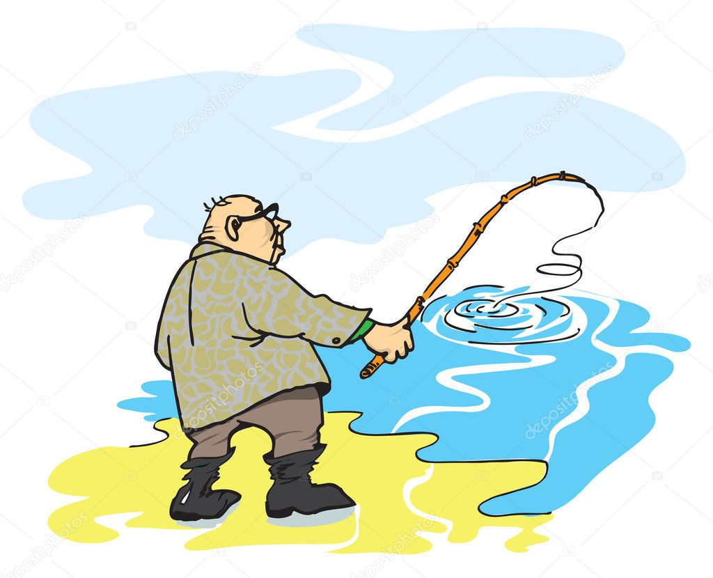 рисовать рыбак
