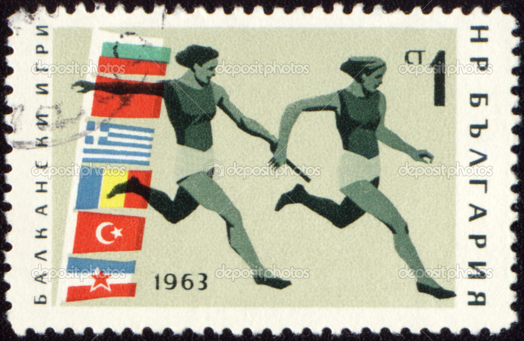 BULGARIA - CIRCA 1963: A post stamp printed in Bulgaria shows relay race, devoted to Balkan games, series, circa 1963 — Stock Photo #6836212