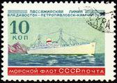 Old passenger ship on post stamp — Stock Photo