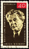 German poet Erich Weinert on post stamp — Stock Photo