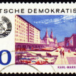 German city Karl-Marx-Stadt on post stamp - Stock Photo