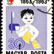 Child with towel on post stamp — Stock Photo