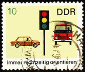 Post stamp with car, truck and light signal — Stock Photo