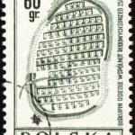 Doevnee Biskupin settlement on post stamp — Stock Photo