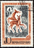 Playing deers on post stamp — Stock Photo
