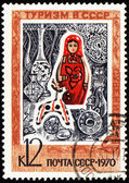 Russian souvenirs on post stamp — Stock Photo