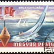 Yacht at Balaton lake on post stamp — Stock Photo #7292801