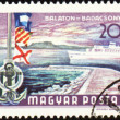 Passenger ship at Balaton lake on post stamp — Stock Photo