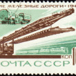 Rail road construction on post stamp — Stock Photo