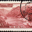 Lake Riza in Caucasus on post stamp — Foto Stock
