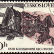 Stock Photo: Mountains and fossil on post stamp