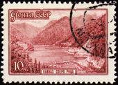 郵便切手のコーカサスで湖リザ — ストック写真