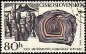 Mountains and minerals on post stamp — Stock Photo