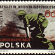 Soldiers in the attack on post stamp - Stock Photo