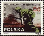 Soldados no ataque no carimbo de postagem — Fotografia Stock